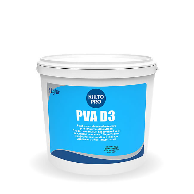 Kiilto PVA D3. Водостойкий клей для дерева 3 кг.