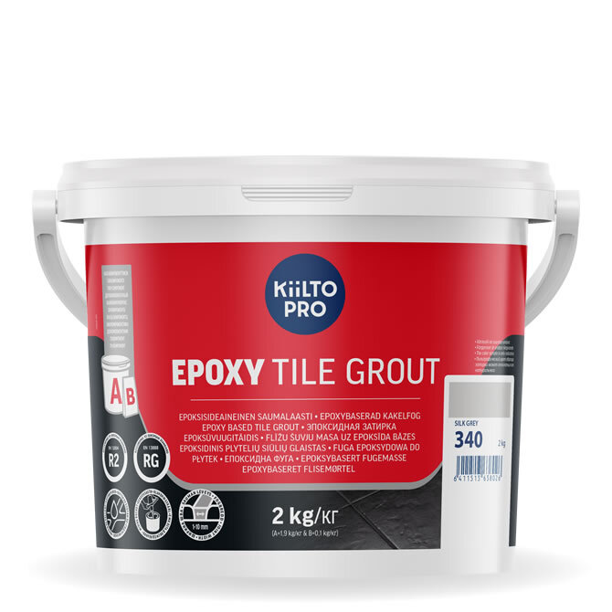 Kiilto Epoxy Tile Grout. Эпоксидная затирка. 340 Silk Grey.