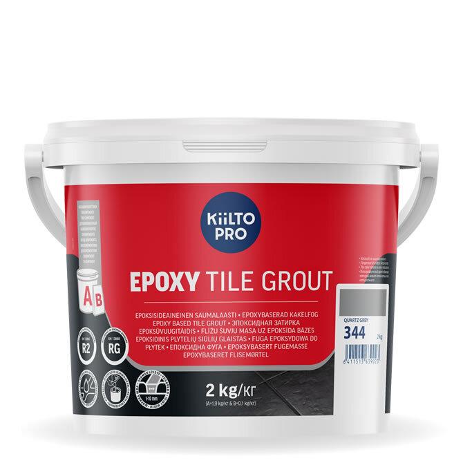 Kiilto Epoxy Tile Grout. Эпоксидная затирка. 344 Quartz Grey.